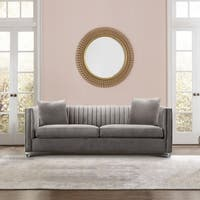 Armen Living Emperor Contemporary Sofa with Acrylic Finish and Beige Fabric