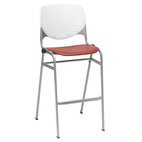 KFI KOOL Poly Stack Barstool , White Back, Coral Seat