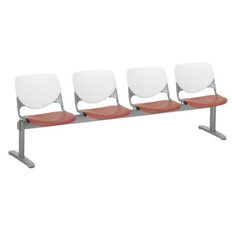 KFI KOOL 4 Seat Beam Bench, White Back, Coral Seat