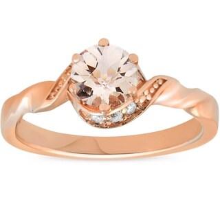 Bliss 14K Rose Gold 3/4ct TDW Morganite & Diamond Solitaire Halo Twist Engagement Ring - White