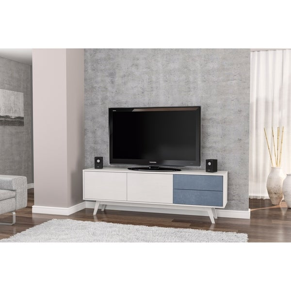 Polifurniture Laos 70 Inch Tv Stand White Wood And Navy