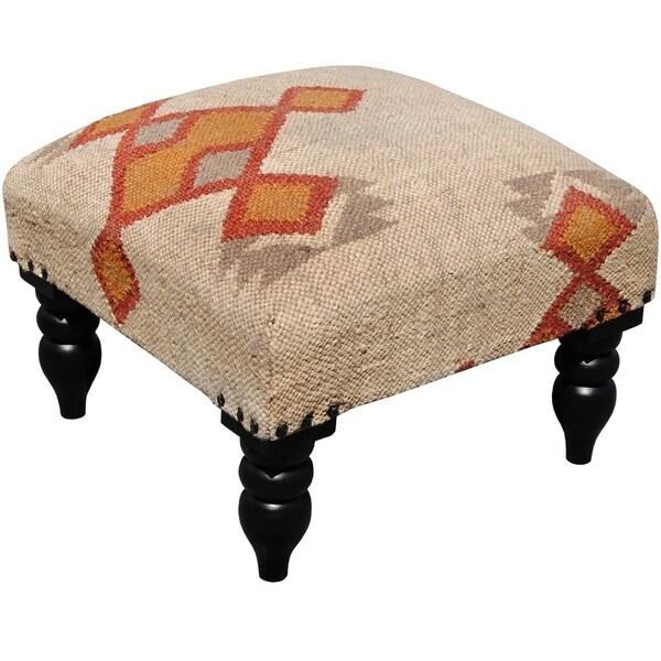 Shop Handmade Kilim Upholstered Footstool India On