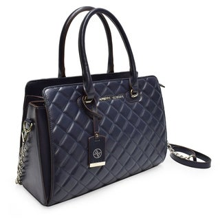 Adrienne Vittadini Cushion Quilted Chain Strap Satchel-Navy