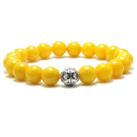 AALILLY Mens 10mm Yellow Natural Beads Stretch Bracelet