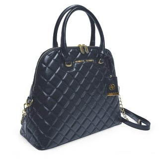 Adrienne Vittadini Cushion Quilted Dome Satchel-Navy