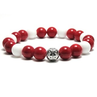 AALILLY Mens 10mm White and Red Natural Beads Stretch Bracelet