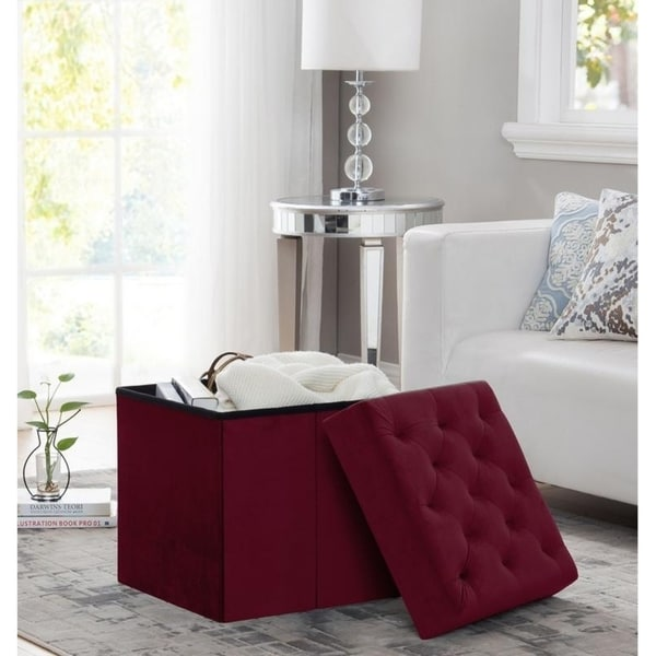 Shop Foldable Velvet Tufted Storage Ottoman Square Cube