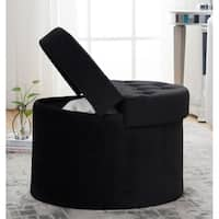 Foldable Velvet Tufted Large Round Storage Ottoman Foot Rest Stool/Seat with Removable Lid