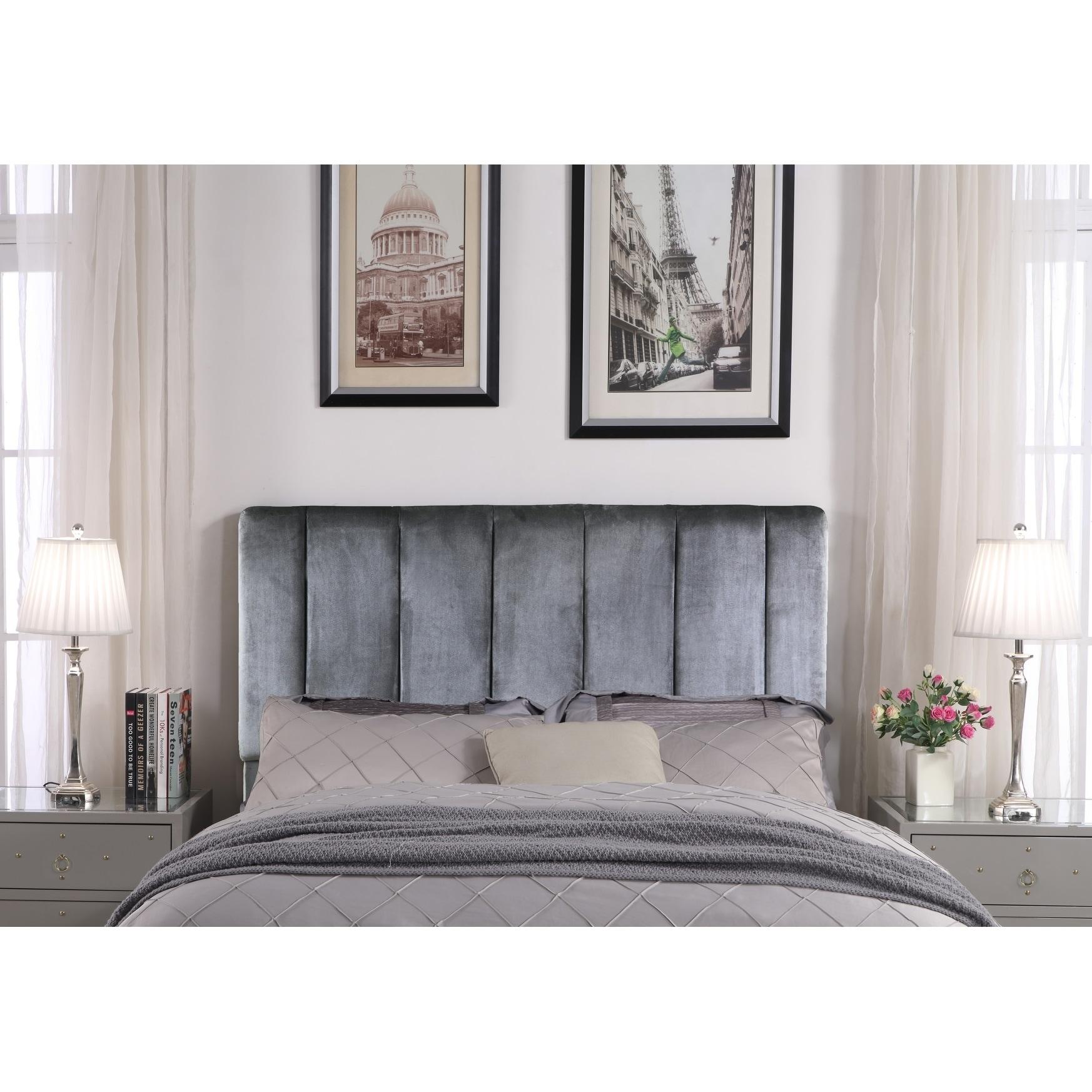 Chic Home Anwar Velvet Upholstered Vertical Striped Headboard On Sale Overstock 21529733