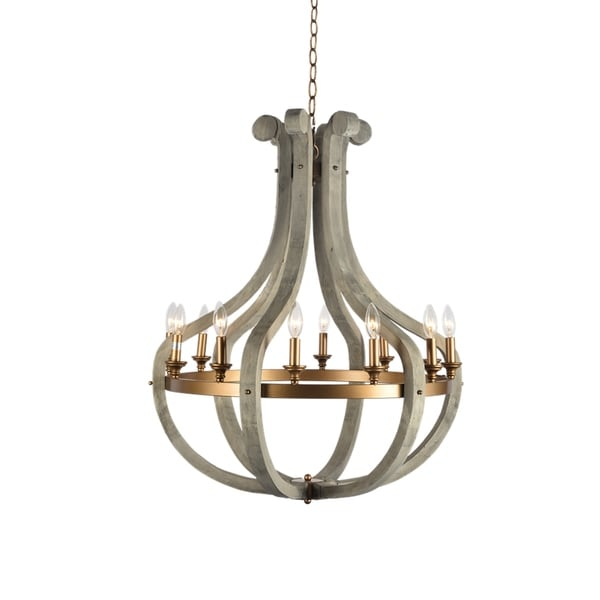 Darby Collection Washed Wood/Metal 12-light Chandelier