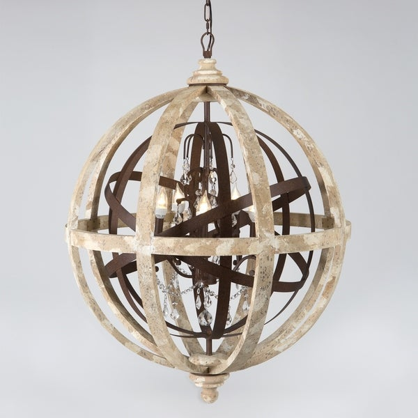 Campion Collection 5-light Distressed Khaki Wood/Iron/Crystal Chandelier