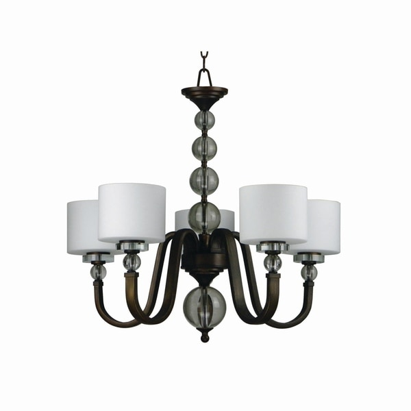 Yosemite Home Decor Mitchell Peak Collection Oil-rubbed Bronze Metal 5-light Chandelier with White Dove Glass Shades
