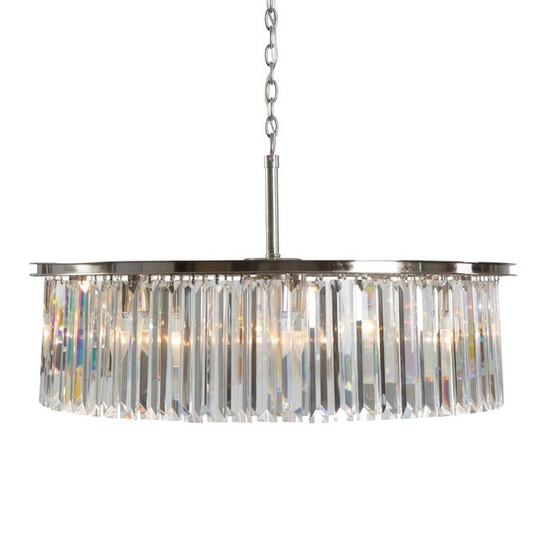 Yosemite Home Decor White Wing Collection 8-light Satin Nickel Finish Chandelier