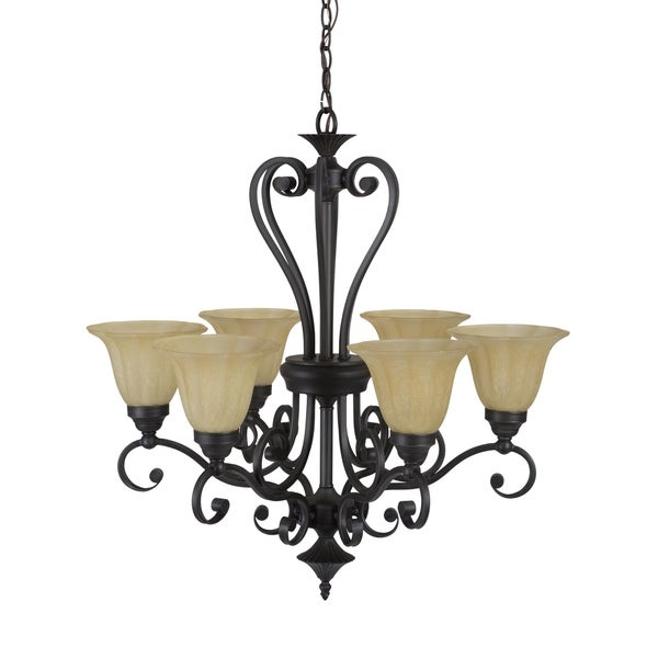 Yosemite Home Decor Florence Lighting Collection Deep Sienna Slate/Champagne Metal/Glass 6-light Chandelier