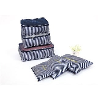 Packing Cubes for Luggage Travel Clothes Storage Bags, Organizer pouch. 6pc set (Navy white stripe)