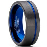 Oliveti Men's Tungsten Carbide Wedding Band Ring Gun Metal and Blue Color, Comfort Fit 8mm