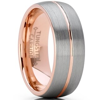 Oliveti Rose Tone Tungsten Carbide Wedding Band Ring, Dome Grooved Center Comfort Fit 8mm