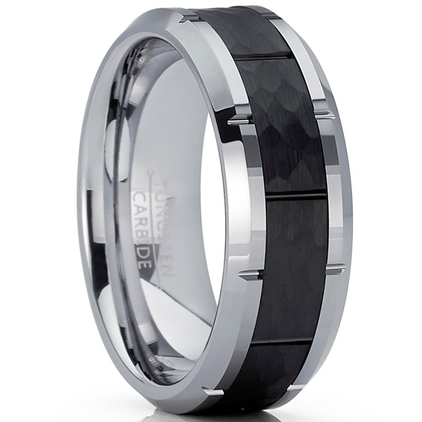 1f03858b2957 Oliveti Men  x27 s Black Hammered Grooved Tungsten Carbide Wedding Band Ring
