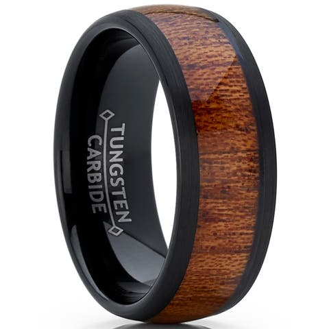 Oliveti Black Tungsten Carbide Wedding Band Ring Real Wood Inlay Comfort Fit 8mm