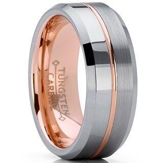 Oliveti Rose Tone Tungsten Carbide Wedding Band Engagement Ring, Comfort Fit 8mm