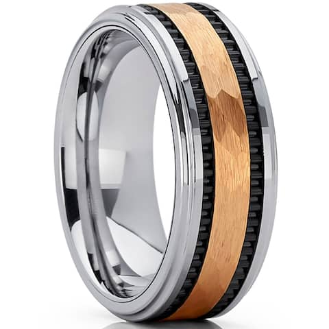 Oliveti Men's Hammered Gold Tone Tungsten Carbide Wedding Band Ring, 8mm Comfort Fit