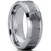 Oliveti Men's Hammered Grooved Tungsten Carbide Wedding Band Ring, 8mm Comfort Fit