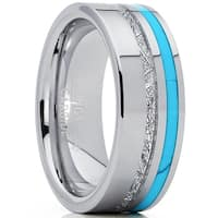 Oliveti Men's Tungsten Carbide Wedding Band with Turquoise and Imitated Meteorite Ring Comfort Fit 8mm