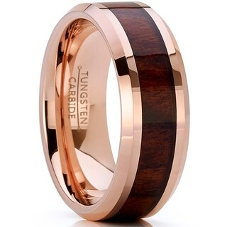 Oliveti Rose Tone Tungsten Carbide Wedding Band Ring, Real Wood Inlay, Comfort Fit 8mm