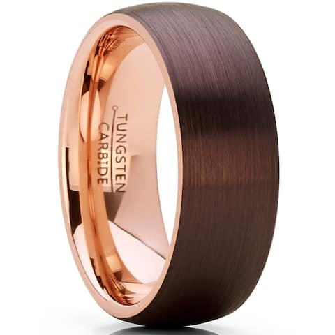 Oliveti Chocolate Brown and Rose Tone Tungsten Carbide Wedding Band Ring, brushed dome Comfort Fit 8mm