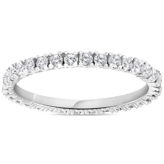 Pompeii3 14k White Gold 5/8 ct TDW Diamond Stackable Wedding Ring Womens Anniversary Band