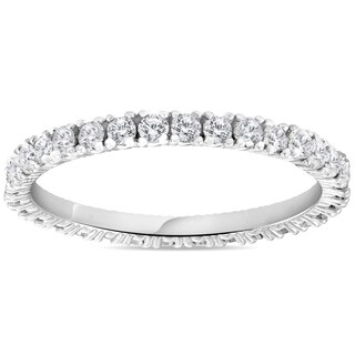 Bliss 14k White Gold 5/8 ct TDW Diamond Stackable Wedding Ring Womens Anniversary Band
