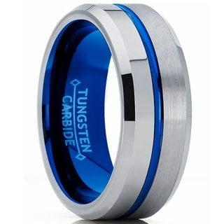 Oliveti Men S Half Anf Half Blue Tungsten Carbide Wedding Band Engagement Ring Comfort Fit 8mm