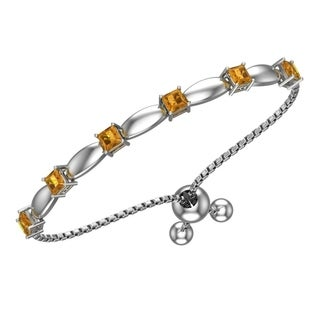 Sterling Silver Adjustable 4mm Gemstone Bracelet with Silicon Bead