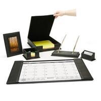 Mind Reader Desk Set, Calendar Holder, Card Holder, Memo Holder, File Holder, Picture Frame, Ball Point Pens, Base Holder,Black