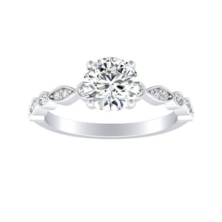 Auriya Vintage 1ct Round Moissanite Engagement Ring 14k Gold
