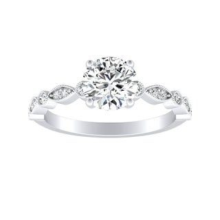 Auriya 14k Gold Vintage Inspired 1ct Round Moissanite and 1/6ct TDW Diamond Milgrain Engagement Ring