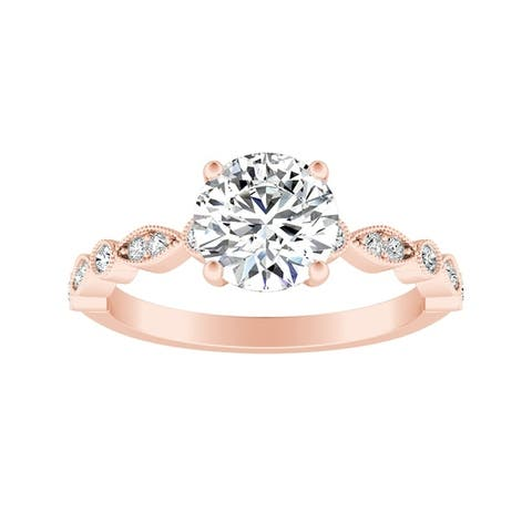 Auriya 14k Gold Vintage 2ct Round Moissanite Engagement Ring