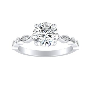 Auriya 14k Gold Vintage Inspired 1 1/2ct Round Moissanite and 1/6ct TDW Diamond Milgrain Engagement Ring
