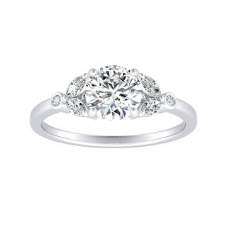 Auriya 14k Gold 1ct Round Moissanite and Diamond Floral Inspired Engagement Ring