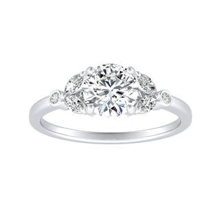 Auriya Floral Inspired 1ct Round Moissanite and Diamond Accent Engagement Ring 14K Gold