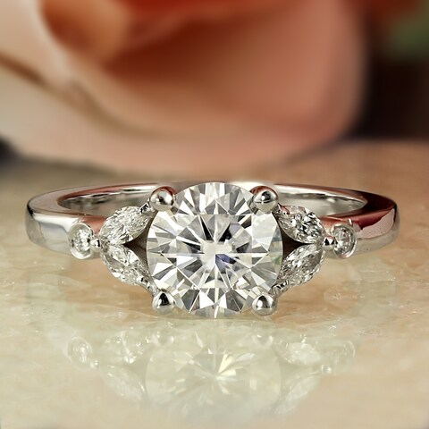 Auriya 14k Gold Floral 3/4ct Moissanite and DiamondEngagement Ring