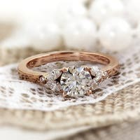 Auriya 14k Gold 1/2ct Round Moissanite and Diamond accent Floral Inspired Engagement Ring