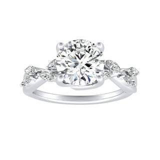 Auriya 14k Gold Floral 2ct Moissanite and 1/3ctw Diamond Engagement Ring