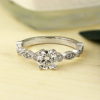Auriya 14k Gold Vintage Inspired 1/2ct Round Moissanite and 1/6ct TDW Diamond Milgrain Engagement Ring