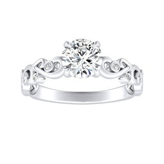 Auriya 14k Gold 1/2ct Floral Nature Inspired Moissanite and Diamond Engagement Ring
