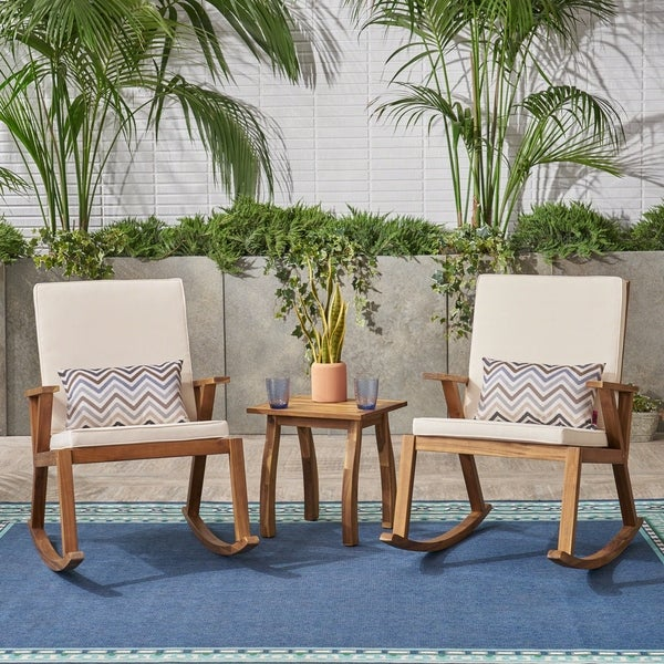 Champlain Outdoor Modern Acacia Wood Rocking Chairs with Accent Table by Christopher Knight Home