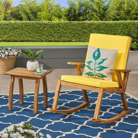 Champlain Outdoor Acacia Wood Rocking Chair and Side Table by Christopher Knight Home