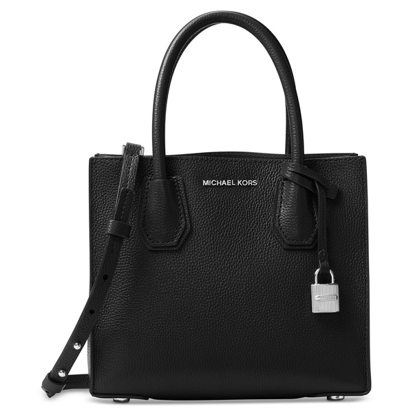 f6dcaef49a1a Shop MICHAEL Michael Kors Mercer Medium Bonded-Leather Crossbody  Black/Silver hardware - On Sale - Free Shipping Today - Overstock - 21531682