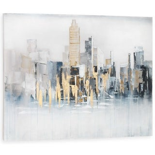Gild Design House 'Concrete Jungle' Hand-painted Gold and Silver Leaf Cityscape Canvas Wall Art