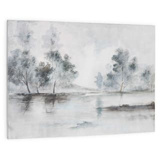 """""""Trees in the Mist"""" Hand Painted Monochromatic Trees on Canvas - Grey"""